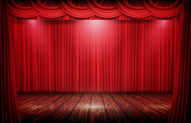 Fase de fundo abstrato da cortina vermelha e piso de madeira