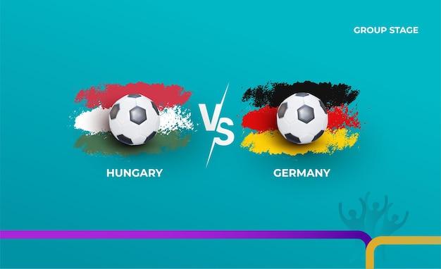 Fase de grupos alemanha e hungria. ilustração vetorial de jogos de futebol de 2020