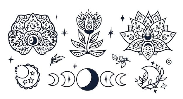 Fases da lua celestial em preto-branco e clipart de crianças de flores em branco