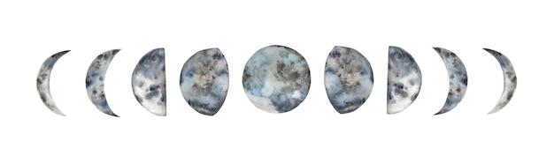 Fases da lua em aquarela de pintados à mão.