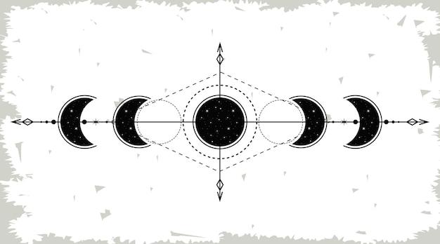 Fases da lua em preto e branco
