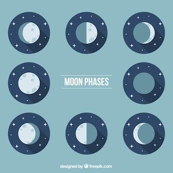 Fases da lua em tons azuis