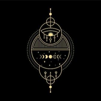 Fases da lua, estrela, cristal, onda solar e geometria sagrada para orientação espiritual, leitor de tarô
