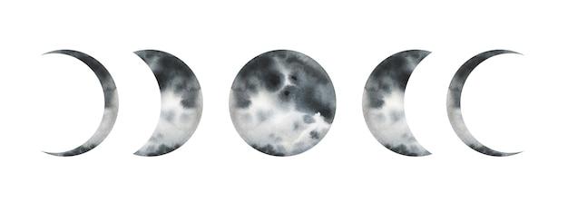 Fases da lua ilustração desenhada à mão em aquarela