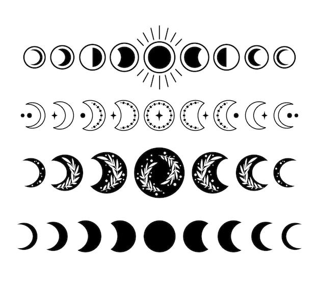Fases da lua místicas boho imagens isoladas pacote fase celestial do vetor definido da lua