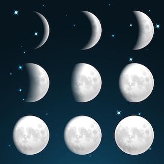 Fases da lua no céu estrelado