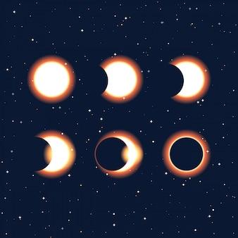 Fases do sol e do eclipse solar