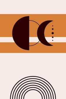 Fases e linhas da lua de boho.