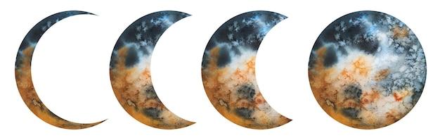 Fases espaciais de satélite de lua em aquarela