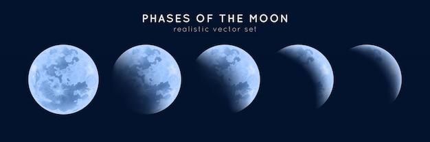 Fases realistas da lua.