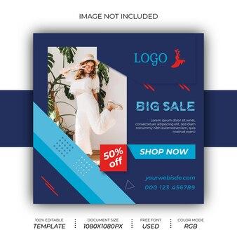 Fashion sale instagram post design em redes sociais