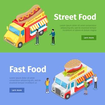 Fast and street food minivans vendendo hotdogs