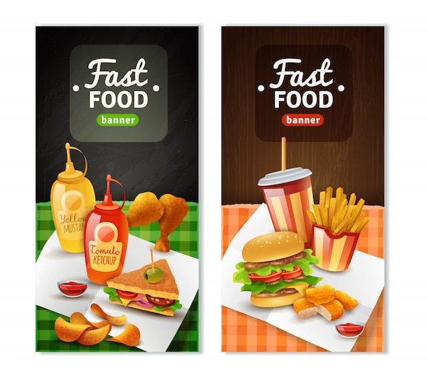 Fast food 2 conjunto de banners verticais
