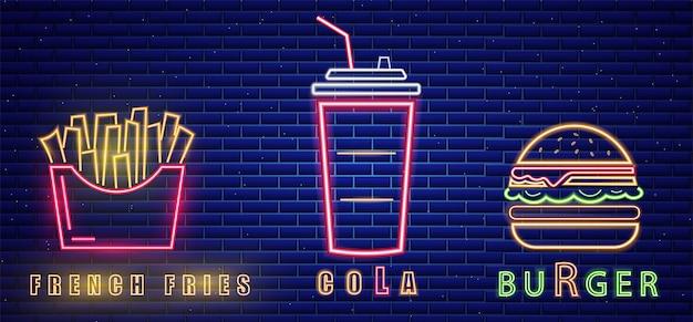 Fast food, almoço, menu, néon, sinal, billboard