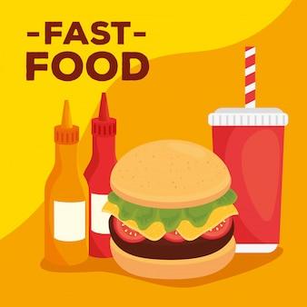 Fast-food, almoço ou refeição, hambúrguer com molho de bebidas e garrafas