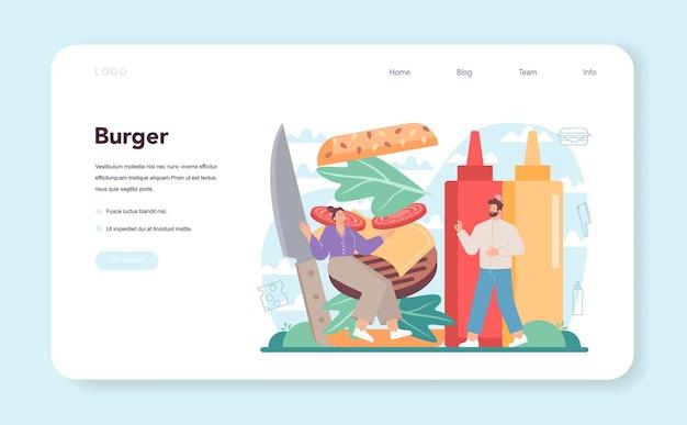 Fast food, banner da web de hamburgueria ou página de destino. chef cozinha hambúrguer saboroso com queijo, tomate e carne entre o delicioso pão. restaurante fast food. ilustração em vetor plana isolada