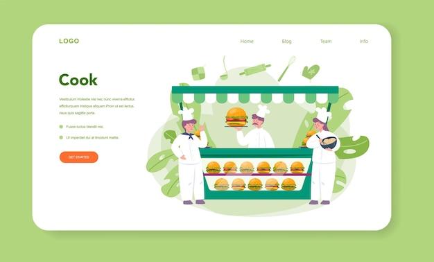 Fast food, banner da web de hamburgueria ou página de destino