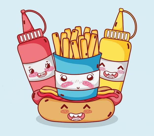 Fast-food bonito batatas fritas cachorro-quente mostarda e molho dos desenhos animados