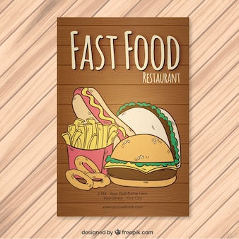 Fast food brochura de madeira