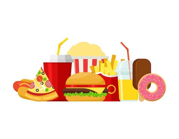 Fast food colorido, jantar com hambúrguer e restaurante, muitas refeições saborosas e alimentos pouco saudáveis