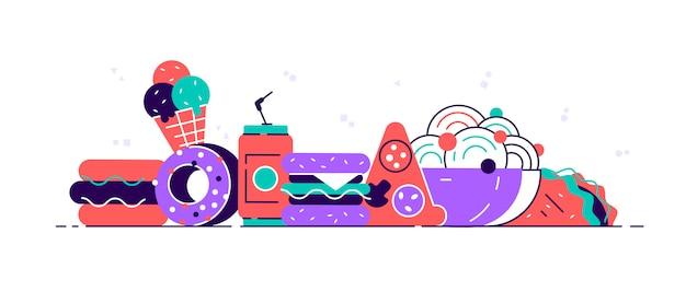 Fast-food colorido. jantar e restaurante de hambúrguer de fast-food, saboroso conjunto de fast-food muitas refeições e nutrição clássica de fast-food saudável. Vetor Premium