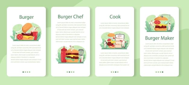 Fast-food, conjunto de banner de aplicativo móvel de hambúrguer.
