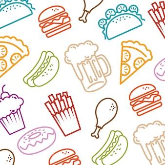 Fast food conjunto de ícones