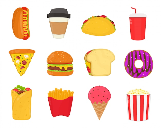 Fast-food, conjunto de lanches. batatas fritas, cachorro-quente, sorvete, bebida, sanduíche, pizza, hambúrguer, café, taco, refrigerante, rosquinha, pipoca.