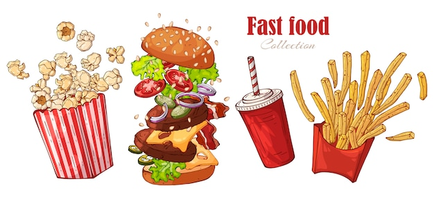 Fast-food de vetor: hambúrguer, batatas fritas, pipoca, bebida.