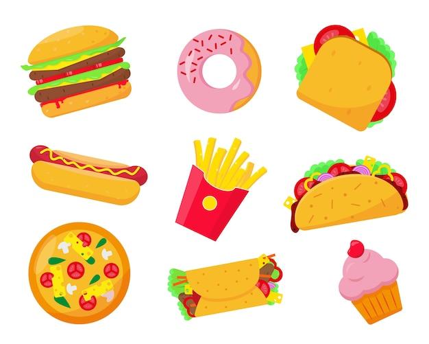 Fast food definir ilustração de ícones em fundo branco. elementos de alimentos rápidos ou não saudáveis.