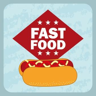 Fast food design sobre ilustração vetorial de fundo azul