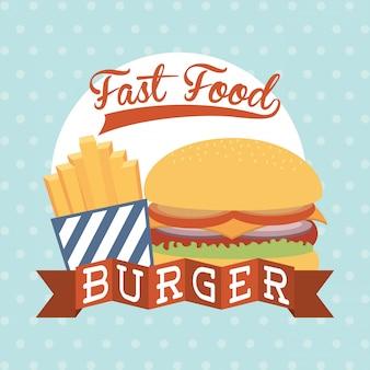 Fast food design sobre ilustração vetorial de fundo pontilhada