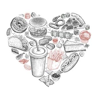 Fast food dispostas em forma de coração.