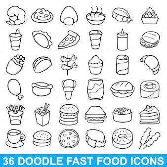 Fast food doodle icon refeição menu de restaurante