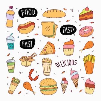 Fast food doodles ilustração de elementos de objeto de estilo de arte em linha desenhada à mão