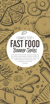 Fast-food doodles menu de banner vertical