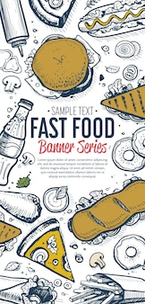 Fast-food doodles menu de banner vertical