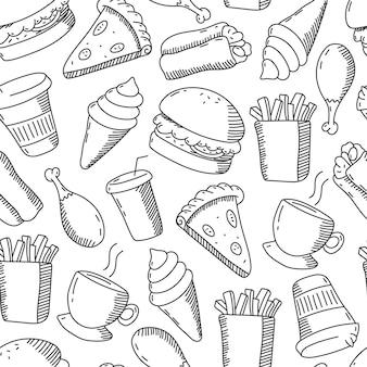 Fast-food doodles padrão sem emenda dos desenhos animados de vetor em um fundo branco.