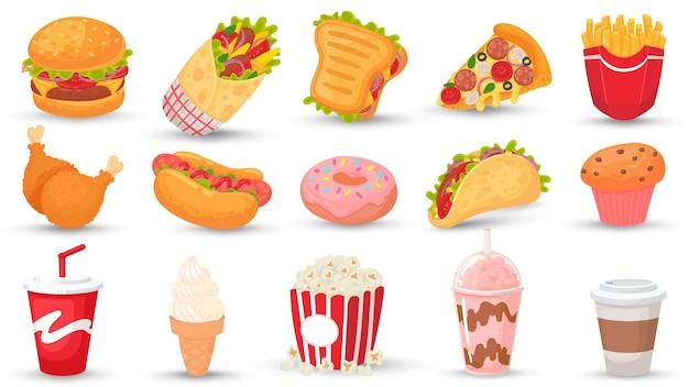 Fast-food dos desenhos animados. hambúrguer, sanduíche saboroso e cachorro-quente.