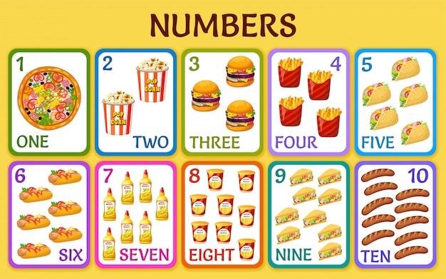 Fast-food dos desenhos animados. números de cartões de crianças.