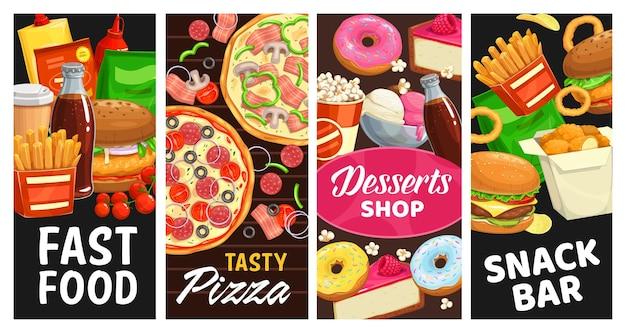 Fast food e lanchonete, sobremesas, comida de rua hambúrgueres