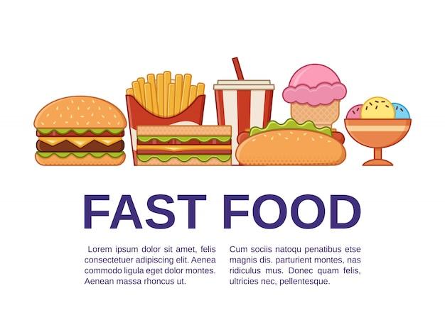 Fast food em design de arte de linha plana.