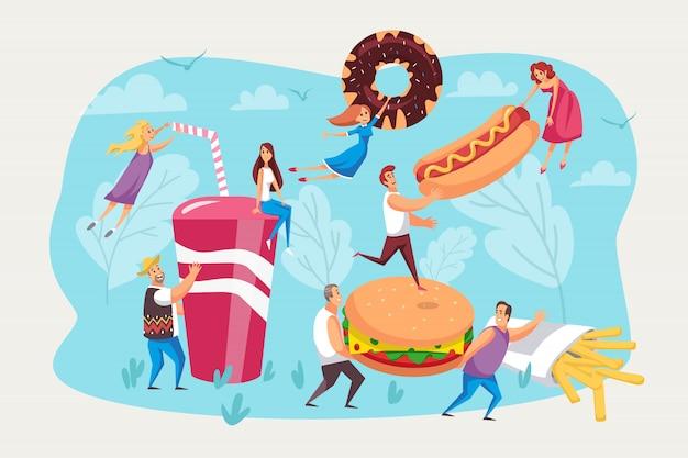 Fast-food, fome, conjunto de refeições.