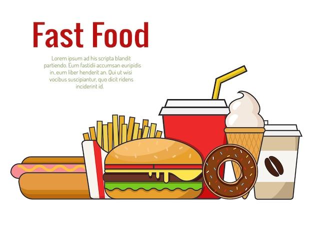 Fast food hambúrguer, cachorro-quente, donut, sorvete, café e batatas fritas