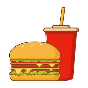 Fast-food, hambúrguer e água com gás em copo de plástico.