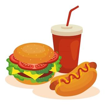 Fast-food, hambúrguer grande com cachorro-quente e bebidas de garrafa