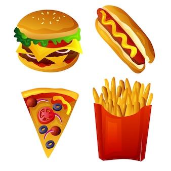 Fast food, hambúrguer, pizza, batata frita, cachorro-quente
