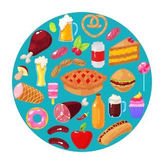 Fast food, jogo, ilustração