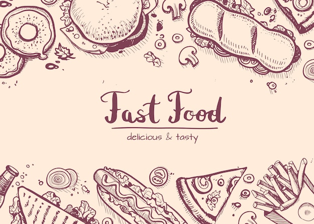 Fast-food mão desenhada fundo vintage