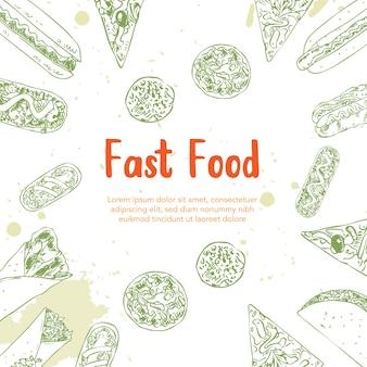 Fast food mão ilustrações desenhadas